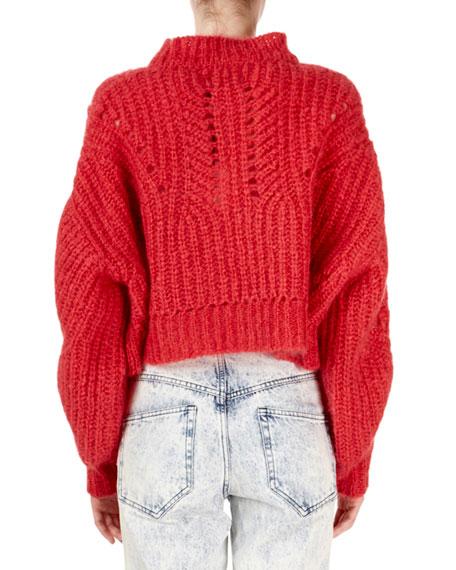 Isabel Marant Irren Mock-Neck Cropped Chunky-Knit Sweater
