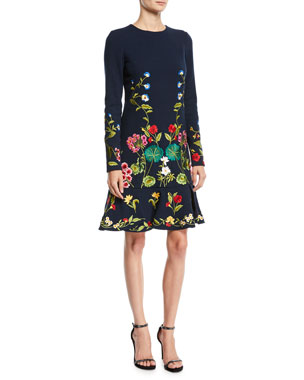 d4b3c6f45c Oscar de la Renta Long-Sleeve Floral-Embroidered Fit-and-Flare Knit