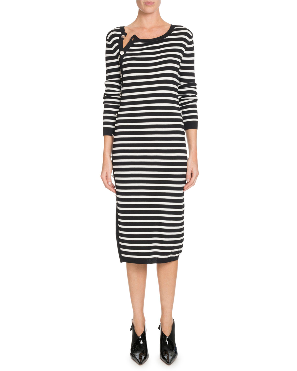 0e65643950b Altuzarra Button-Side Crewneck Long-Sleeve Striped Knit Sweaterdress ...