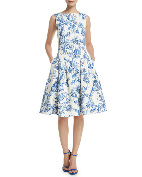 Oscar de la Renta Sleeveless Fit-and-Flare Toile Knee-Length Day Dress