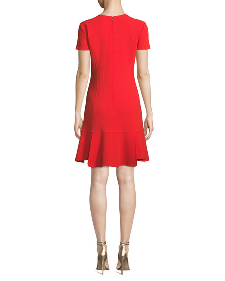 Oscar de la Renta Short-Sleeve Wool-Blend Shift Dress w/ Side Pleats