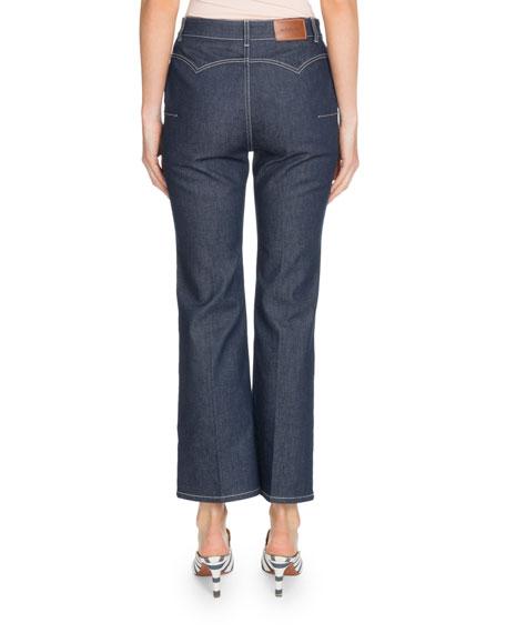Altuzarra Wide-Leg Cropped Jeans w/ Topstitching