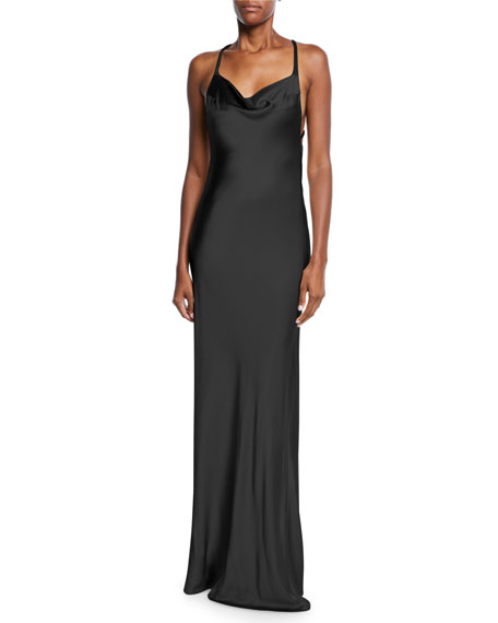 Image 1 of 2: Sleeveless Shimmer-Satin Asymmetric-Back Gown