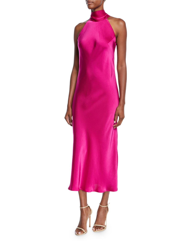 4883bf22b6e3c6 Galvan Sienna Sleeveless Satin Turtleneck Bow-Back Dress