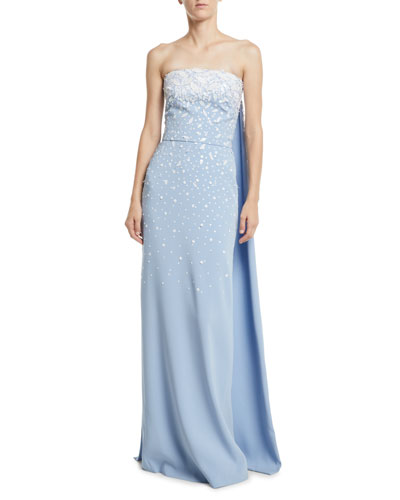 Strapless Embroidered Silk Georgette Evening Gown w/ Cape