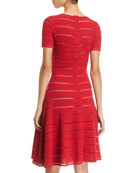 Oscar De La Renta Short Sleeve Pointelle Metallic Knit Fit
