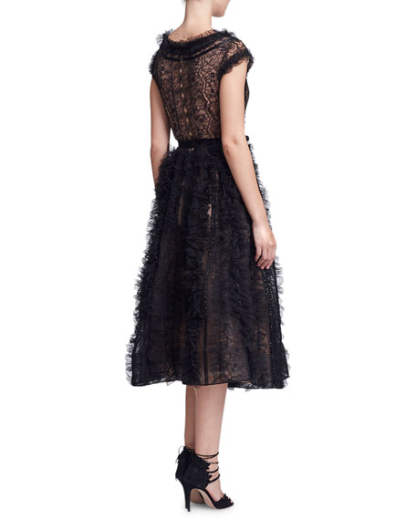 Marchesa Plunging V-Neck Lace & Ruffled Cocktail Dress