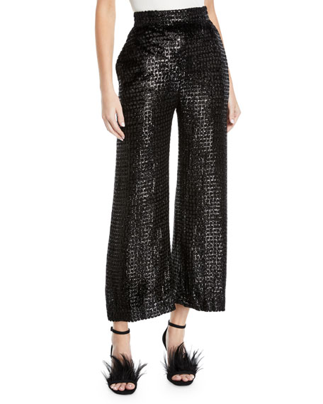 Brandon Maxwell High-Waist Wide-Leg Metallic-Velvet Pants