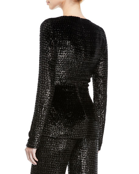 Brandon Maxwell Long-Sleeve V-Neck Metallic-Velvet Wrap Top