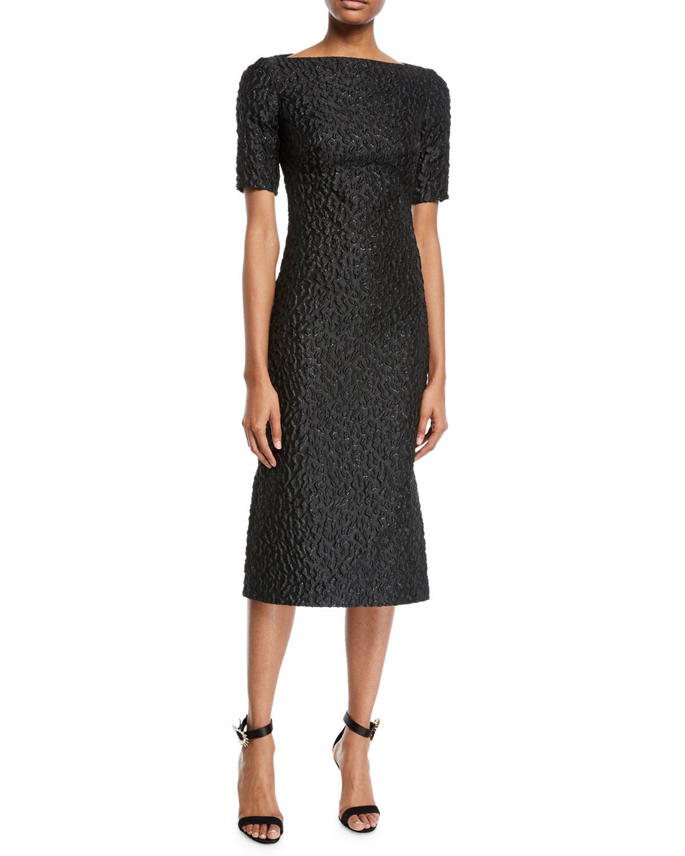 93347ede281 Brandon Maxwell Short-Sleeve Leopard-Jacquard Midi Sheath Cocktail Dress
