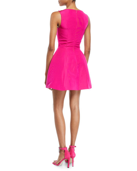 Brandon Maxwell Sleeveless Fit-and-Flare Silk Faille Bubble Dress