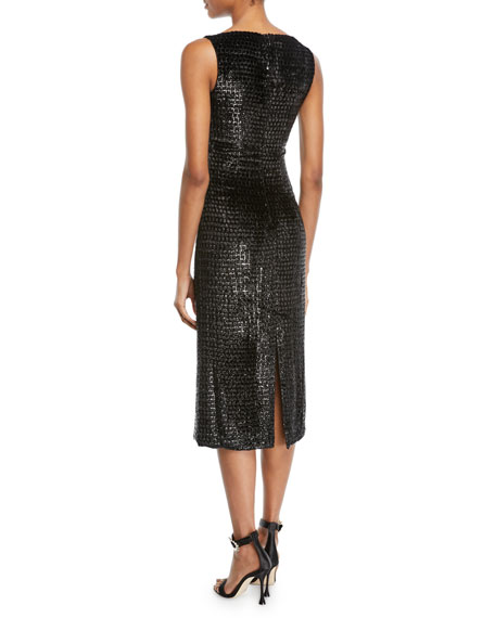 Image 2 of 2: Sleeveless Boat-Neck Metallic Velvet Mid-Calf Sheath Dress