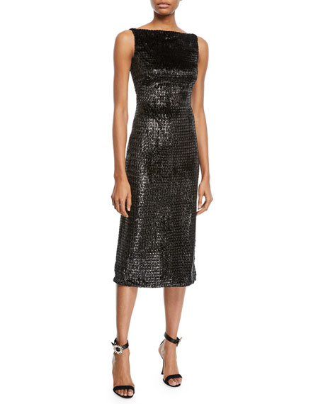 Image 1 of 2: Sleeveless Boat-Neck Metallic Velvet Mid-Calf Sheath Dress