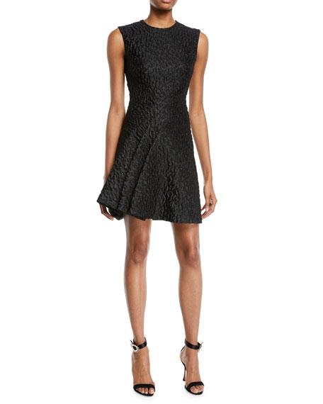 Brandon Maxwell Sleeveless Leopard-Jacquard Wrap-Seam Cocktail Dress
