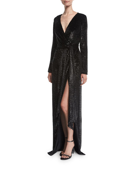 Brandon Maxwell Long-Sleeve V-Neck Shimmery Velvet Gown