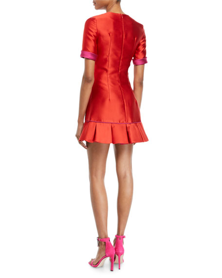 Brandon Maxwell Short-Sleeve Double-Face Satin Ruffle-Hem Mini Cocktail Dress