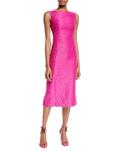 Sleeveless Leopard-Jacquard Midi Sheath Cocktail Dress