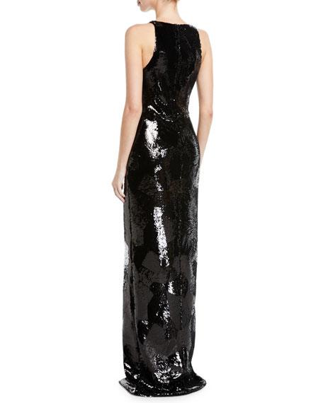 Brandon Maxwell Split-Neck Sleeveless Geometric-Sequin Evening Gown