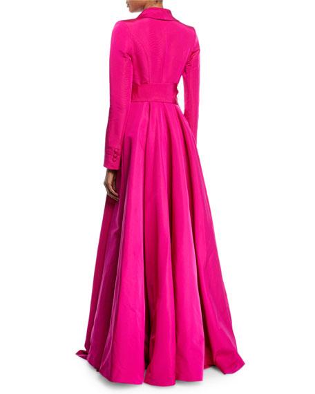 Brandon Maxwell Long-Sleeve Wrap-Belt Silk Faille Evening Ball Gown