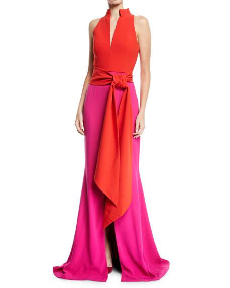 Brandon Maxwell Sleeveless Split-Neck Bicolor Draped Crepe Evening Gown