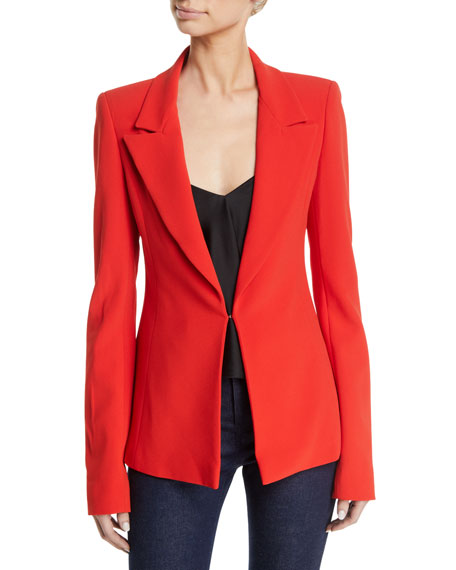 Brandon Maxwell Single-Breasted Notched-Lapel Crepe Blazer