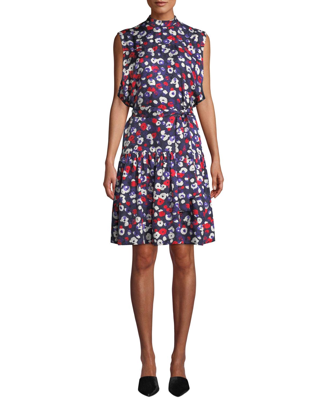 fde945a13 Derek Lam Mock-Neck Sleeveless Belted Poppy-Print Silk Dress w/ Ruffle Hem