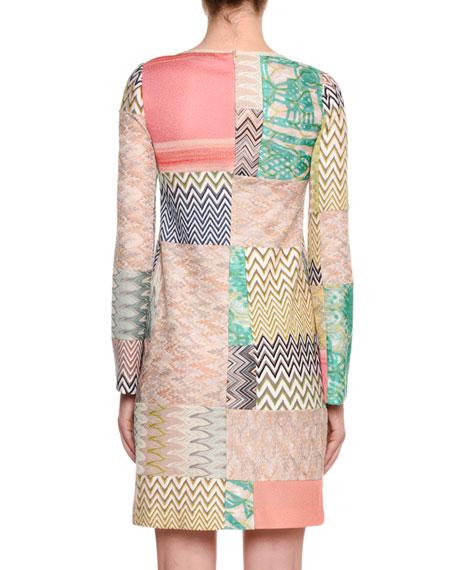 Missoni Long-Sleeve Multicolor Patchwork Sheath Dress