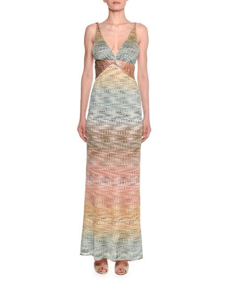 Missoni V-Neck Twisted-Waist Sleeveless Metallic Degrade Knit Gown