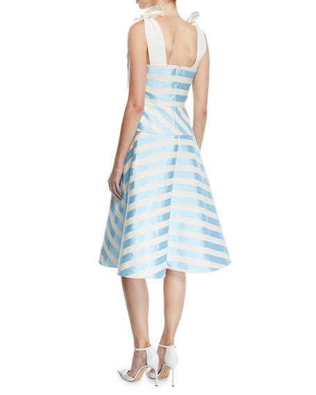 Delpozo Sleeveless Bow-Strap Striped Mid-Calf Cocktail Dress