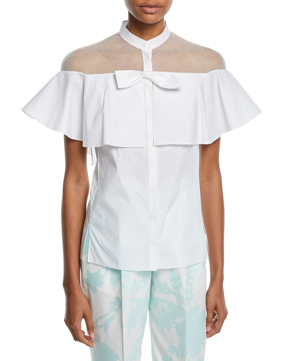 5dc9ede2199 Delpozo Short-Sleeve Tulle-Inset Cape Cotton Blouse