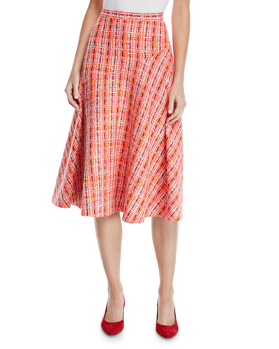 A-Line Mid-Calf Soft Tweed Skirt