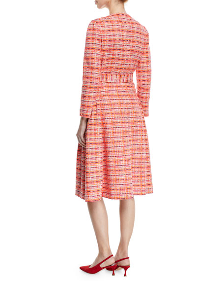 Delpozo Long-Sleeve Self-Belt Gathered Tweed Coat