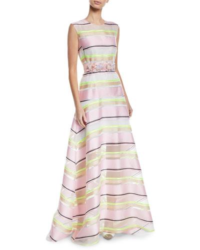 Sleeveless Floral-Applique Belt Striped-Organza A-Line Gown