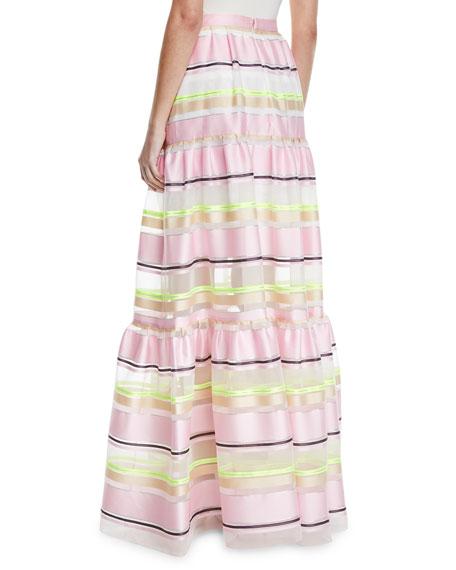 Delpozo Striped-Organza Tiered Maxi Skirt