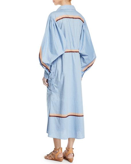 Johanna Ortiz Striped Cotton Tie-Waist Dress