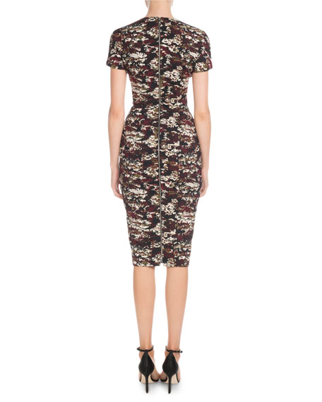 Victoria Beckham Short-Sleeve Crewneck Fitted Printed Dress
