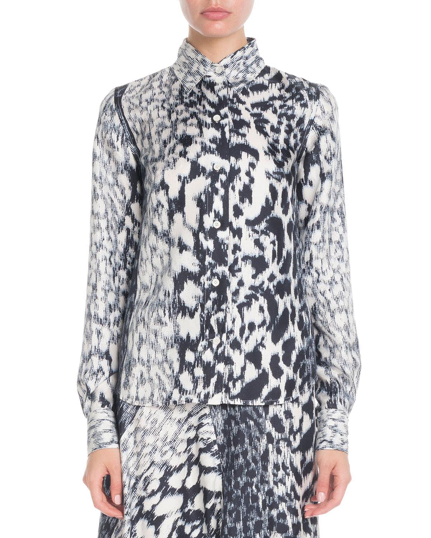600ac6878b964 Victoria Beckham Long-Sleeve Button-Front Printed Silk Top