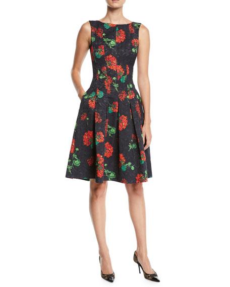 Oscar de la Renta Sleeveless Floral-Jacquard 2-Pocket Fit-and-Flare Dress