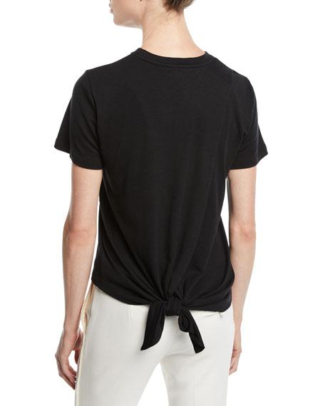 Oscar de la Renta Tulip-Embroidered Tieback Crewneck Short-Sleeve Cotton Tee