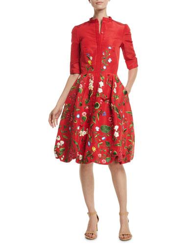 Elbow-Sleeve Botanical-Embroidered Bubble-Hem Day Dress