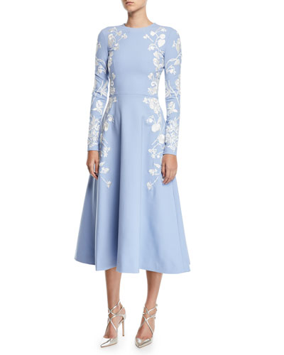 Long-Sleeve Jewel-Neck Floral-Embroidered Midi Daytime Dress