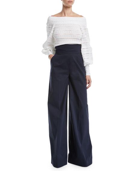 Oscar de la Renta High-Waist Wide-Leg Cotton Pants w/ Lace-Up Detail