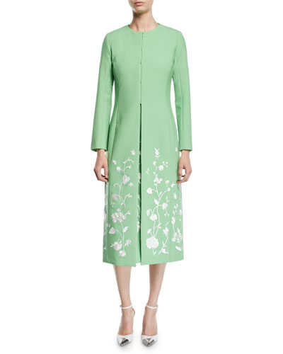 Floral-Embroidered Hook-Front Calf-Length Stretch-Wool Coat