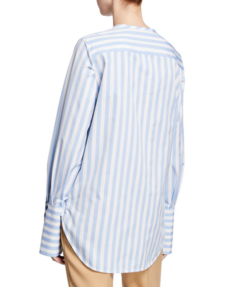 Oscar de la Renta Striped Jewel-Neck Button-Front French-Cuff Blouse