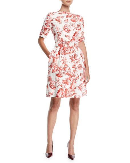 Oscar de la Renta High-Neck Short-Sleeve Belted Toile Fit-and-Flare Daytime Dress