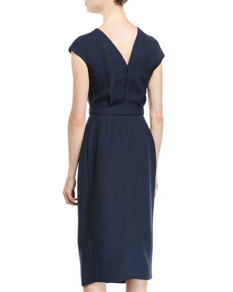 Oscar de la Renta Cap-Sleeve Belted Wrap-Style Wool-Silk Midi Dress