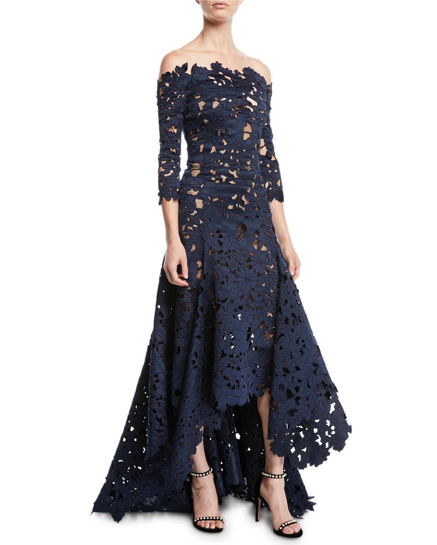 Designer Evening Dresses Sale On White: Oscar De La Renta Off-the-Shoulder 3/4-Sleeve High-Low