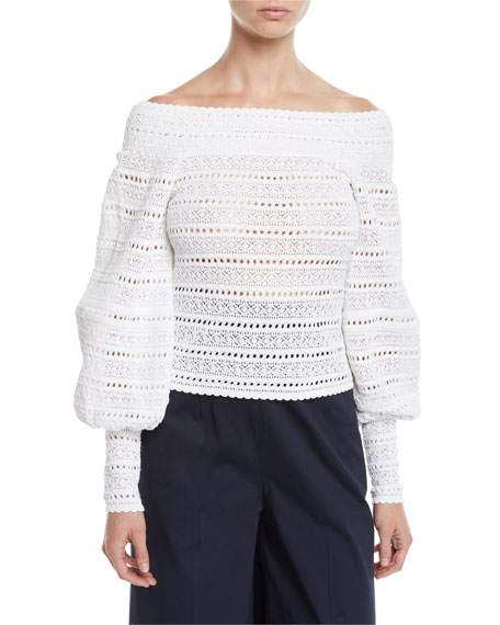 Oscar de la Renta Off-The-Shoulder Lace-Striped Blouse