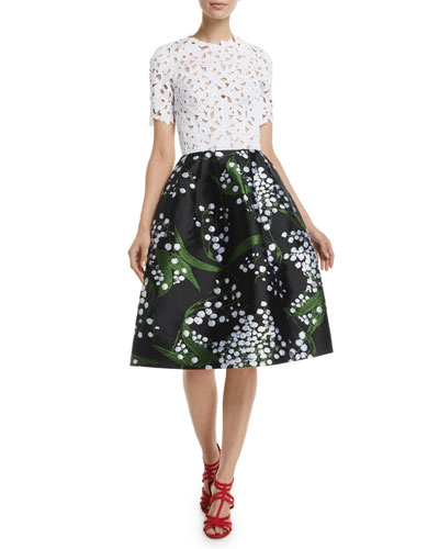 Lace-Guipure Top Botanical-Embroidered Skirt Dress w/ Pockets