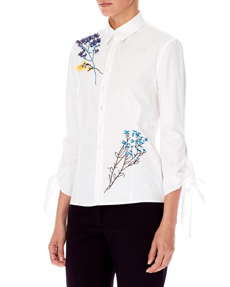 Carolina Herrera 3/4-Sleeve Floral-Embroidered Button-Front Cotton Shirt